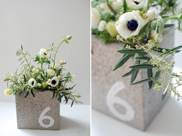 Wedding Blog Cinder Block Centerpieces by Bash, Please