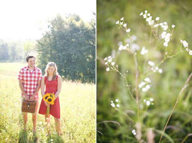 engagement session field red plaid shirt red dress