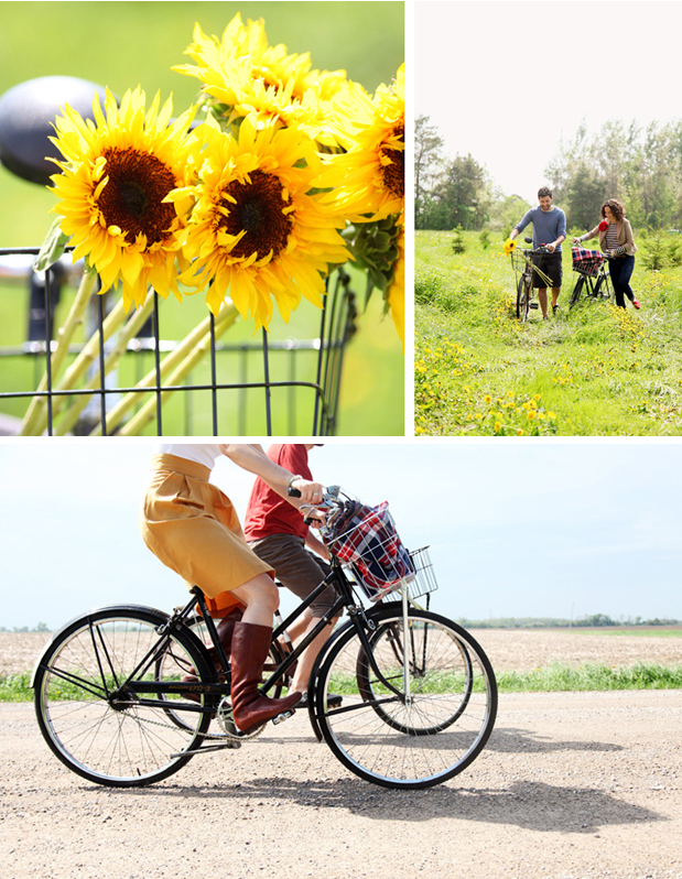 sunflowers bike basket engagement session