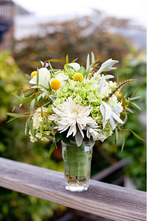 YELLOW GREEN WHITE FLOWER ARRANGEMENT DALIA MUMS CHRYSANTHEMUM HYDRANGEA BILLY BALLS