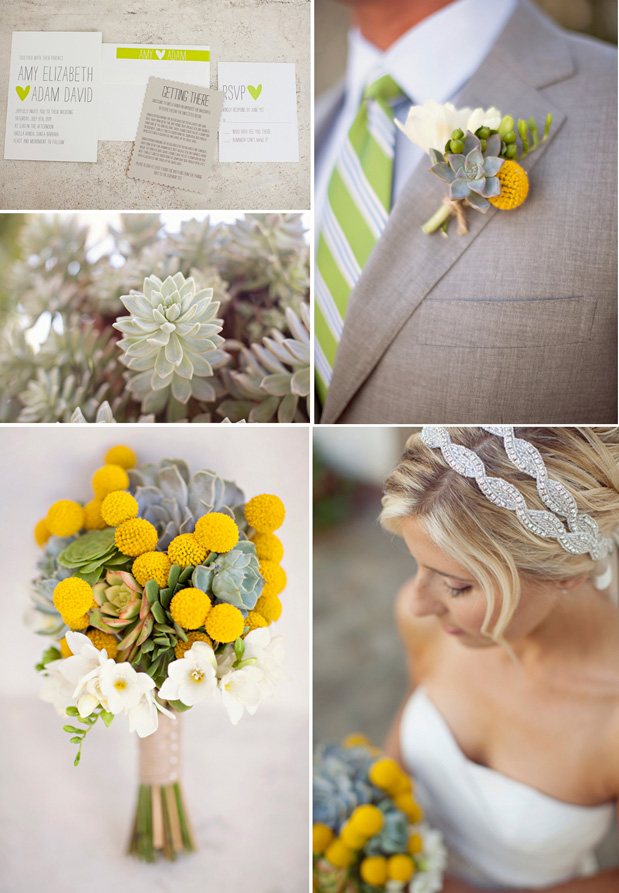 yellow green grey succulent bouquet boutonniere