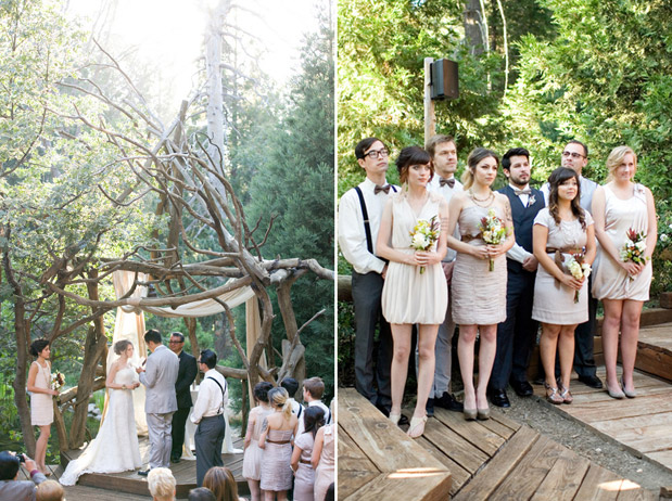 rustic wedding in the woods vintage bridesmaid dress