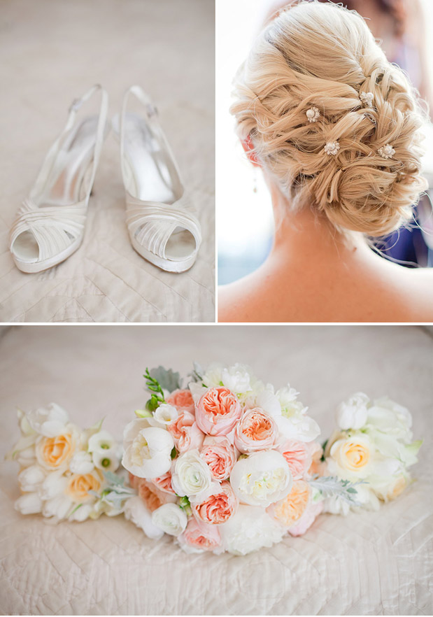 pink garden rose bouquet, wedding hair do, white wedding shoes