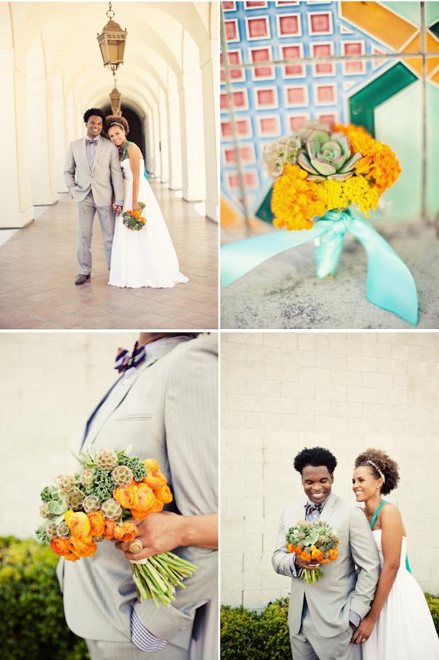 yellow orange aqua bouquet sabrina alashi wedding