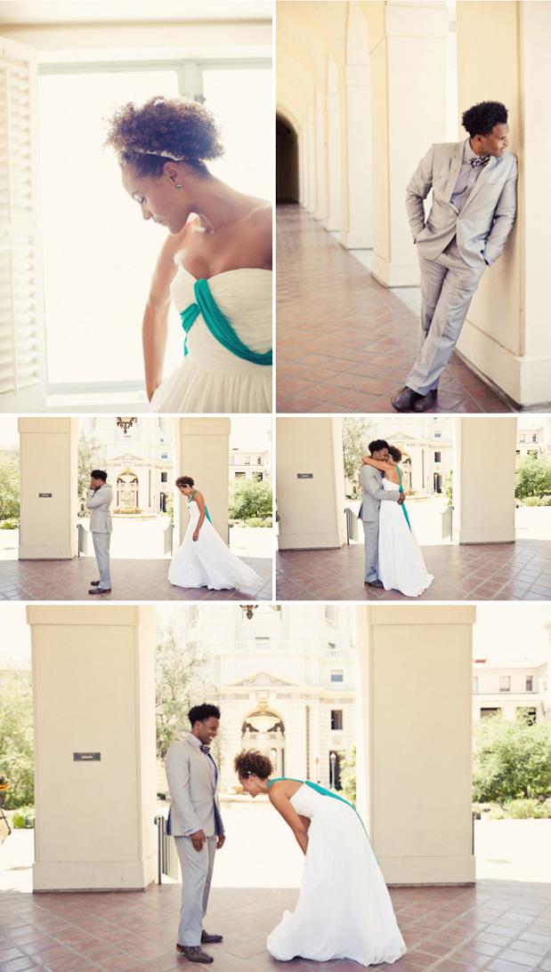 custom wedding dress aqua sash