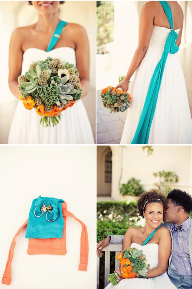 orange aqua colorful fun spring summer wedding california museum of art sabrina ashley