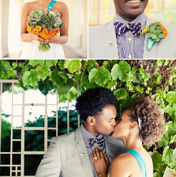 succulent boutonniere men's plaid bowtie bow tie orange green aqua bouquet