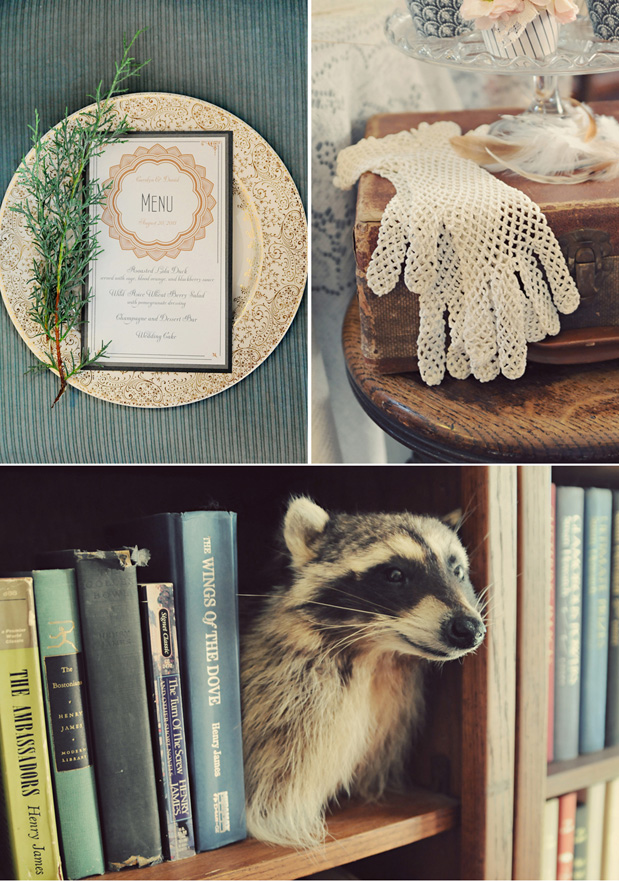 taxidermy racoon, vintage lace gloves