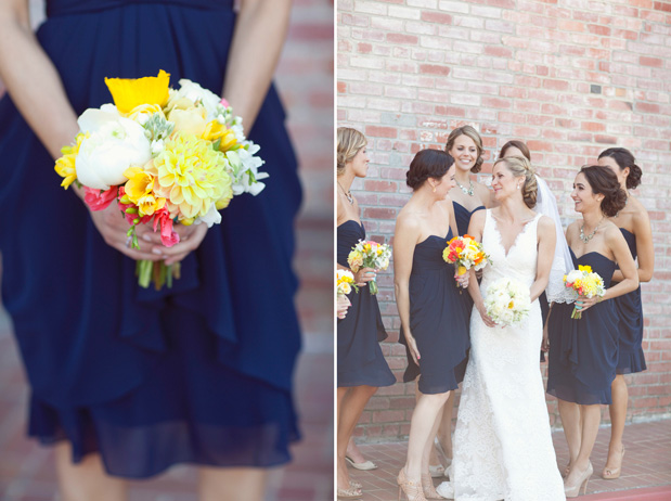 church street flowers navy blue bridesmaid dress bright yellow pink flowers