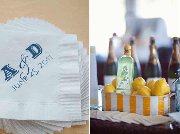 yellow and white stripe cocktail station custom napkins