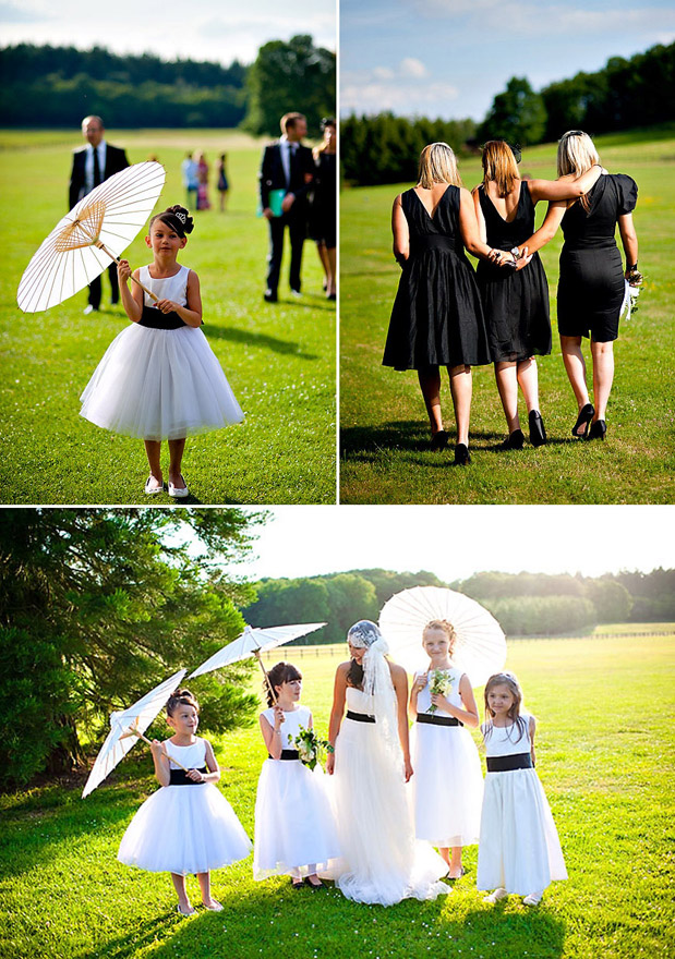 black bridesmaid dresses flower girl parasol black accents