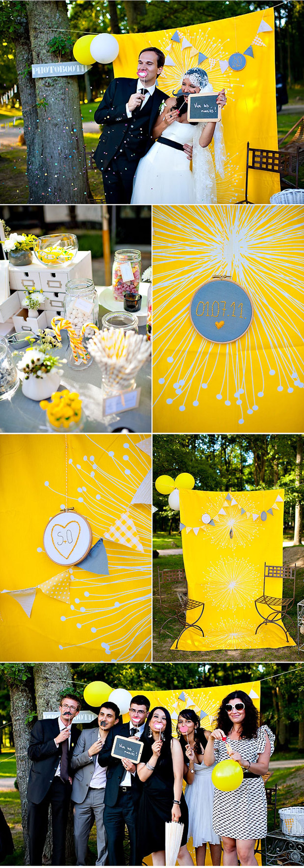 yellow photobooth yellow centerpiece yellow and white candy buffet