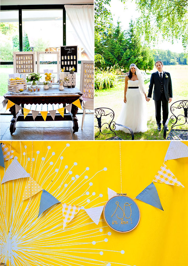 pennant flag garland escort card display table guest book table