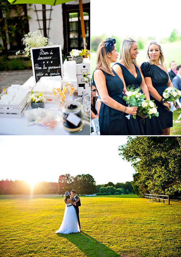 black bridesmaid dresses chalkboard menu
