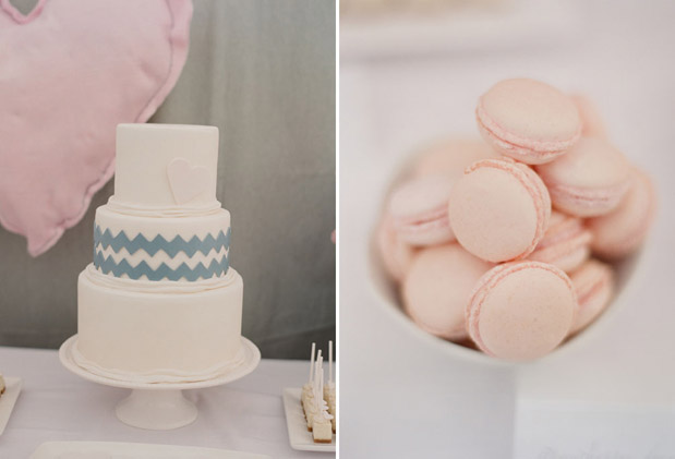 pink macaroons, chevron striped caked