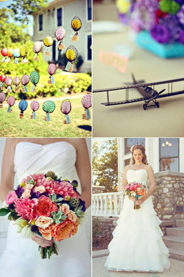 hot air balloon airplane theme wedding