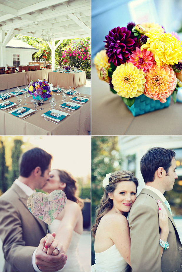 bright wedding flowers turquoise