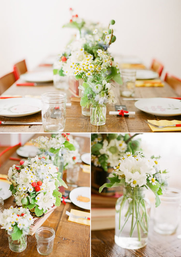 strawberry red rustic centerpiece
