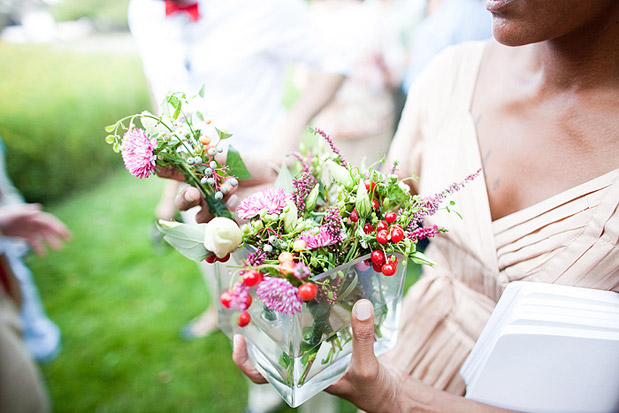 red white pink bridesmaid bouquet