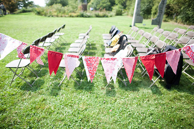red white penant flags wedding