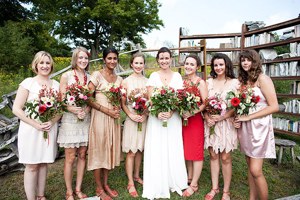red pink white bridesmaid dresses