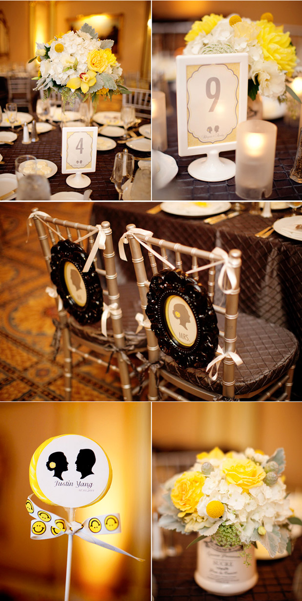 yellow table number white grey yellow centerpiece
