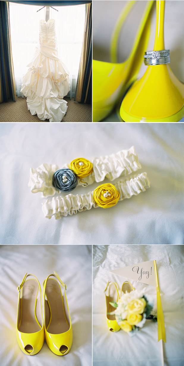 yellow wedding shoes, yellow flag, vintage penant flag