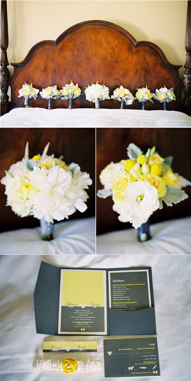yellow wedding flowers bouquets bridesmaid summer langham hotel pasadena sara k chen