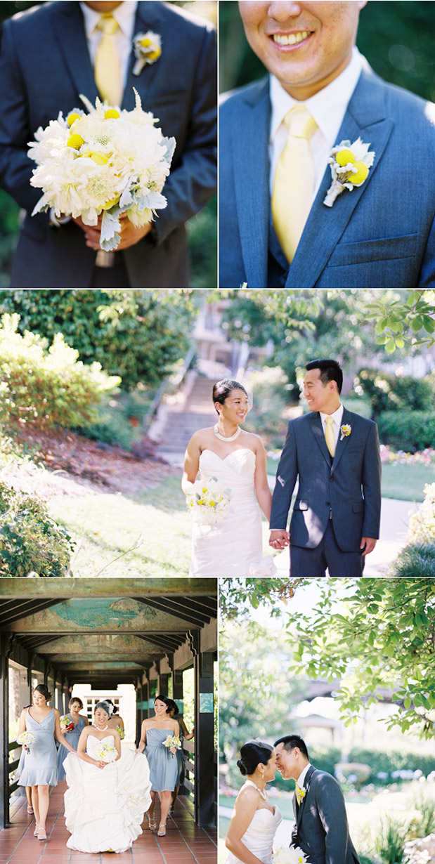 groom yellow tie boutonniere dusty miller bouquet