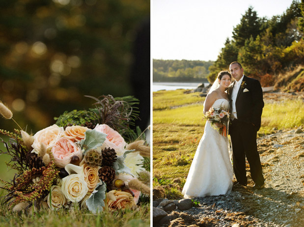 pink autumn fall wedding bouquet maine farm