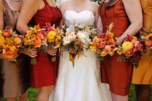 red orange bronze bridesmaid dress fall wedding autumn