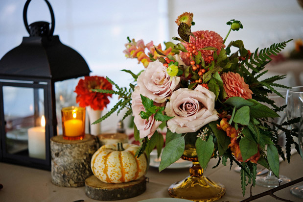 orange pink amber flowers fall wedding autumn romance