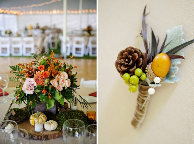 Maine farm wedding in the fall pine cone boutonniere