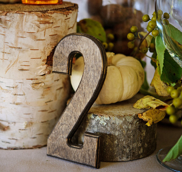 rustic wood table number birch holders pumpkin fall autumn wedding romance centerpieces