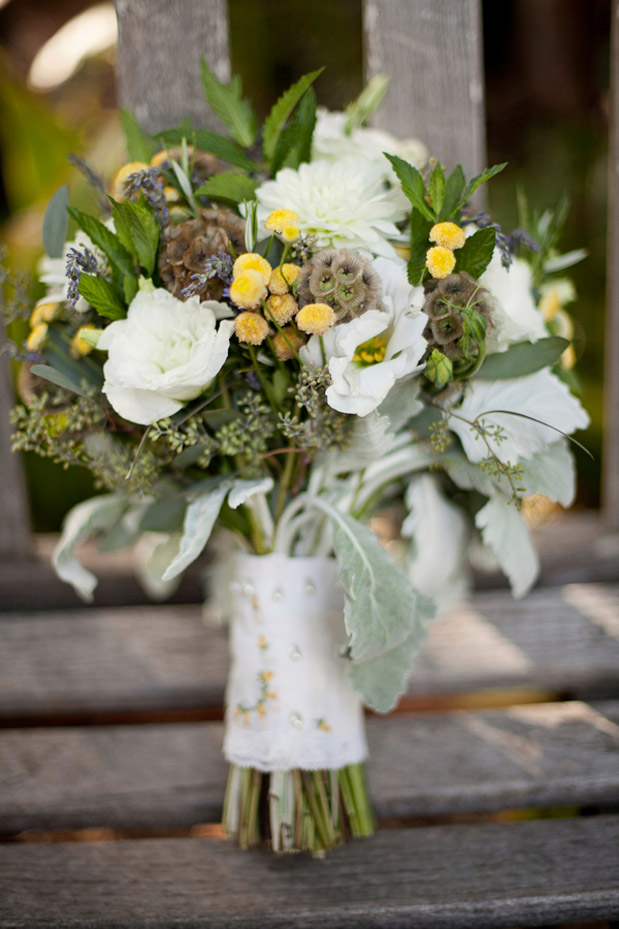 yellow white green bouquet