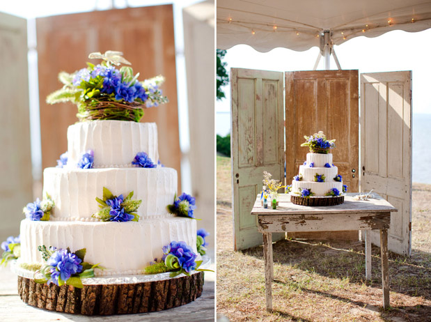 blue rustic cake