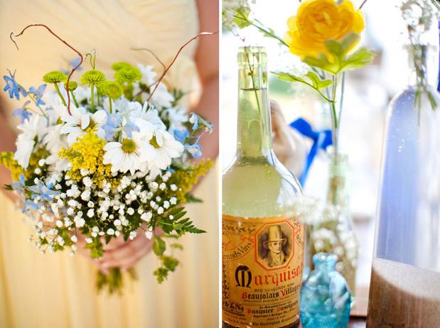 yellow bridesmaid dress, yellow blue bouquet