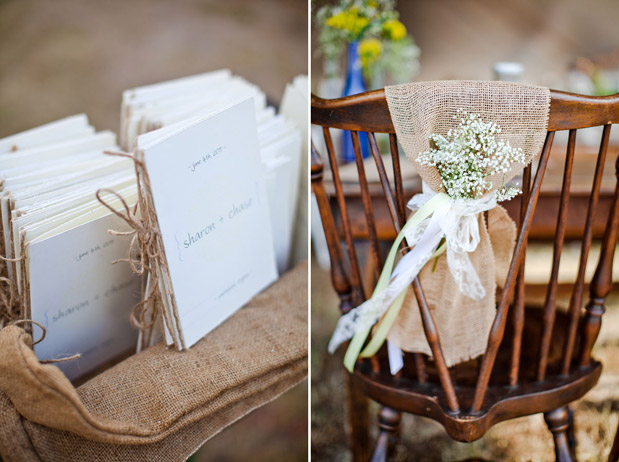 wedding programs burlap accent
