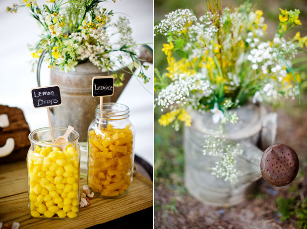 yellow rustic flowers watering can yellow candy chalkboard signs