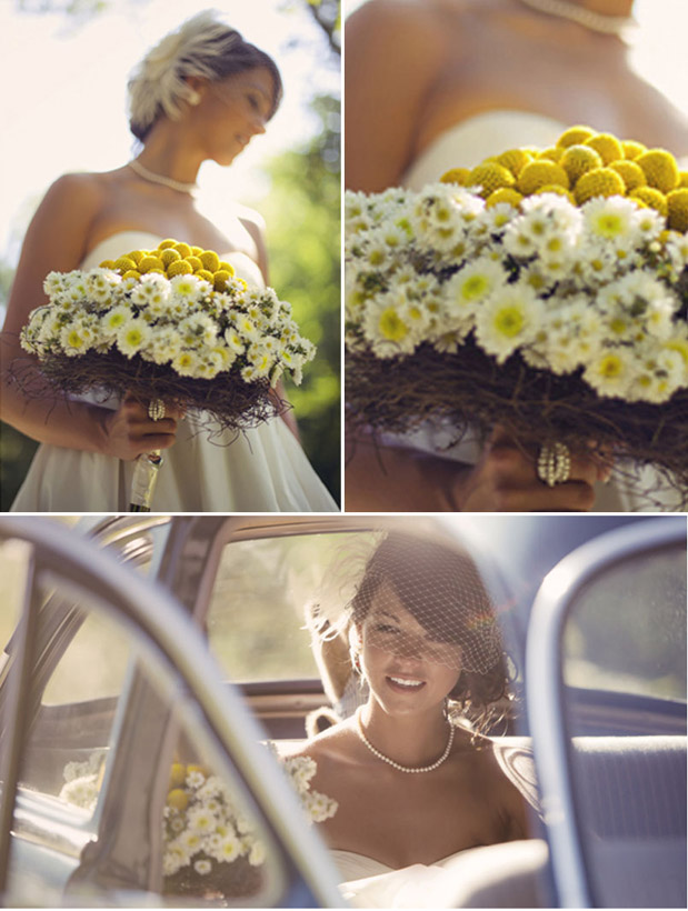 yellow bouquet vintage getaway car