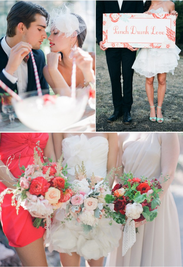 red and pink wedding