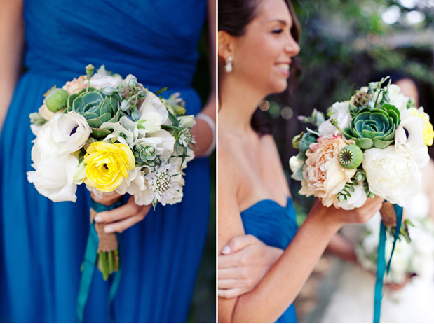 blue bridesmaid dress, succulent bouquet