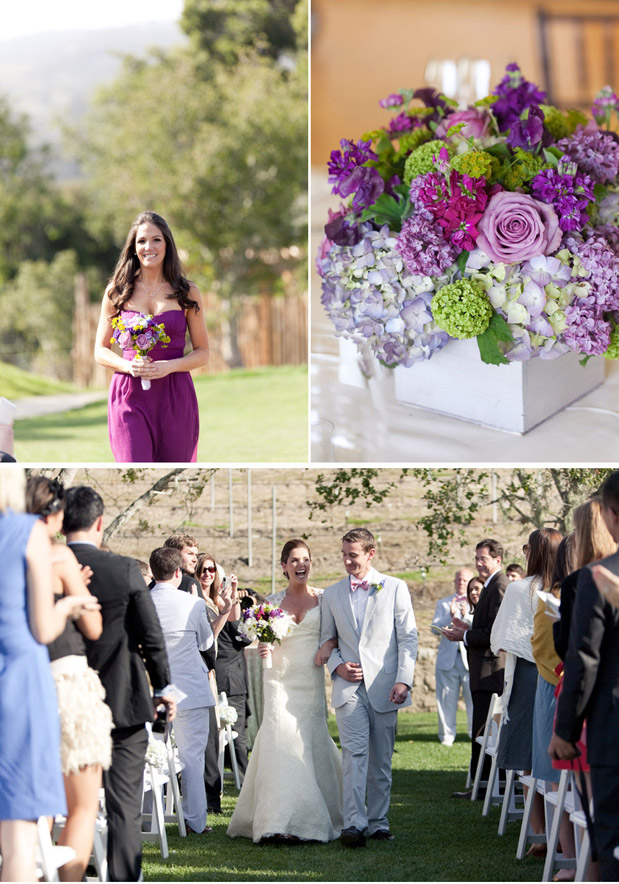 purple centerpieces flower wedding