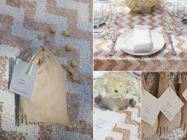 sequin zig zag linen wedding