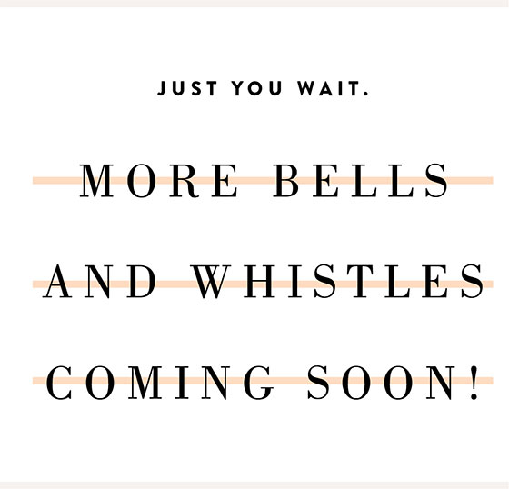 More Bells and Whistles Coming Soon!
