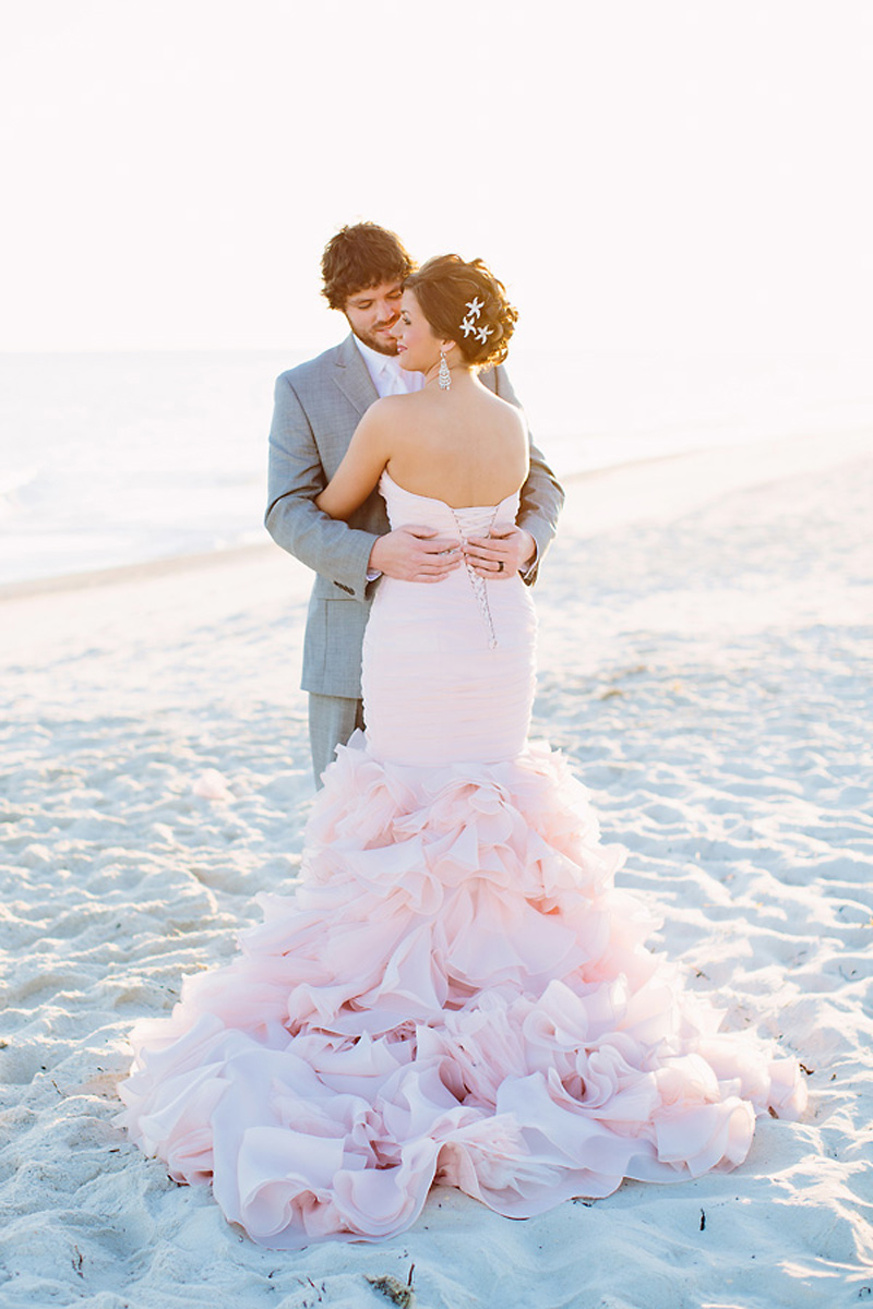 maggie sottero blush pink wedding dress 1Colored Beach Wedding Dresses