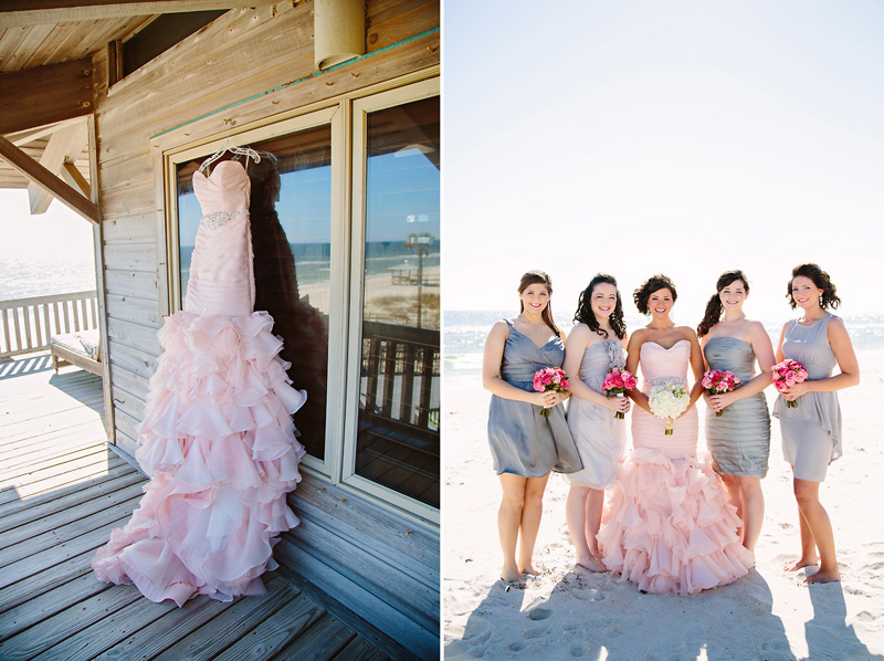 Blush Wedding Dress Grey Bridesmaids : Blush wedding dress on the beach best