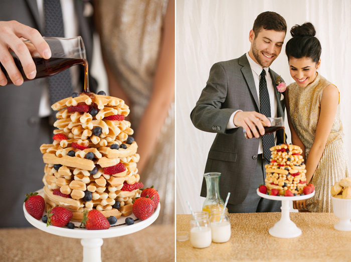 brunch_elopement_shoot_gold_sequins_waffle_wedding_cake_8