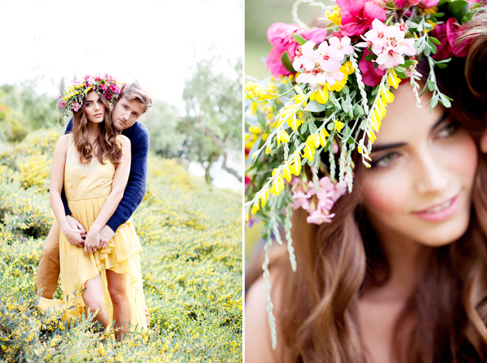 spring flowers headband engagement 2 Spring Engagement Session featured On Grey Likes Weddings!