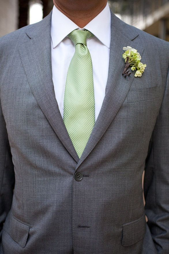sage green, grey suit